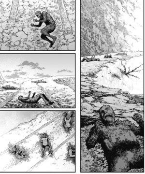 轍の跡に横たわる焼死体の数々