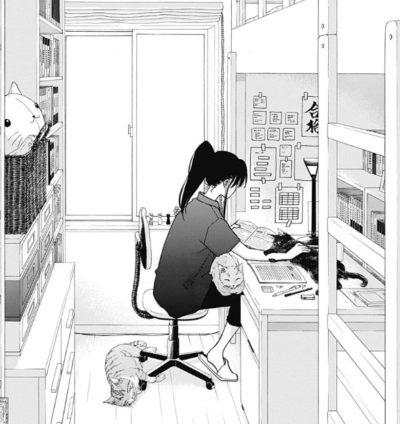 自室で勉強中の真澄