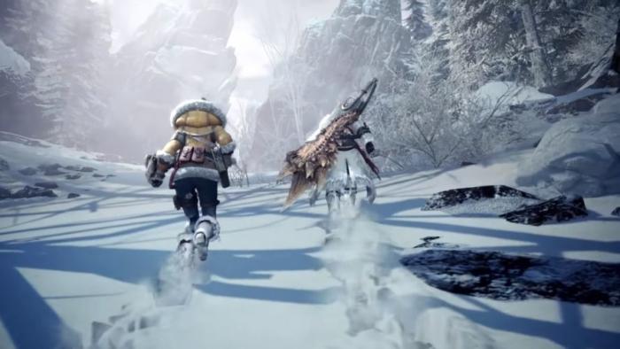 雪原を歩くハンターと相棒